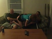 Cuckold invited a friend for his first threesome